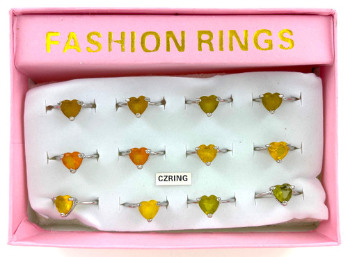 Wholesale CZ Rings by the Dozen - Spring Color Heart