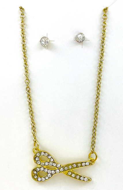 Wholesale Necklace and Earrings Sets by the Dozen - Golden Scissors