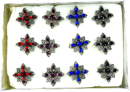 Wholesale Hematite Crystal Rings by the Dozen - Jewel Starburst