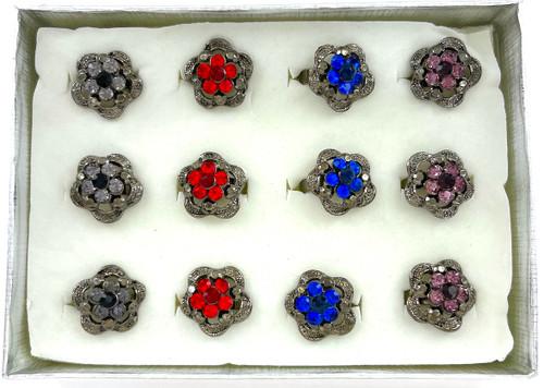 Wholesale Hematite Crystal Rings by the Dozen - Jewel Flower