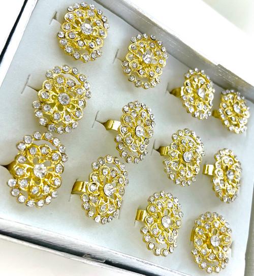 Wholesale Golden Fan Rings by the Dozen