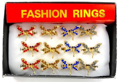 Wholesale Fashion Rings by the Dozen - Golden Dragonfly