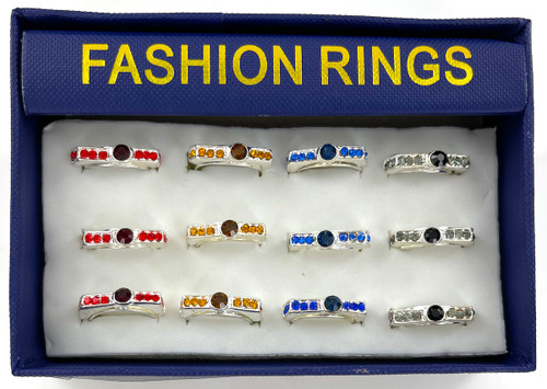 Wholesale Fashion Rings by the Dozen - Crystal Bar