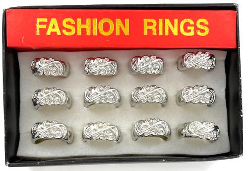 Wholesale Silver Swirls Rings by the Dozen