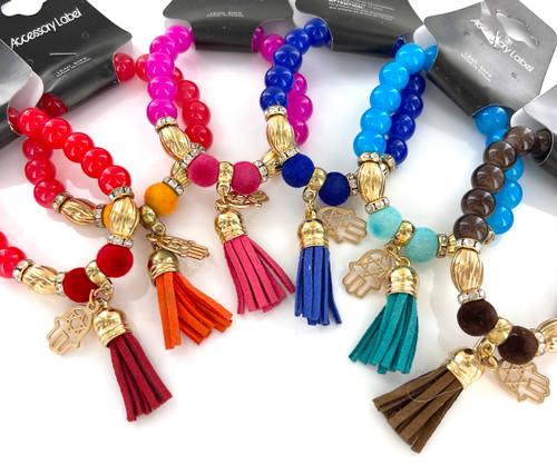 Wholesale Fashion Bracelets by the Dozen - Hamsa Tassel