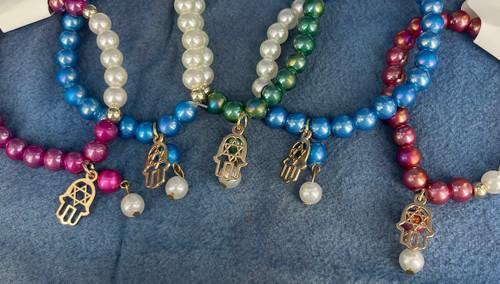 Wholesale Iridescent Fashion Bracelets by the Dozen - Hamsa