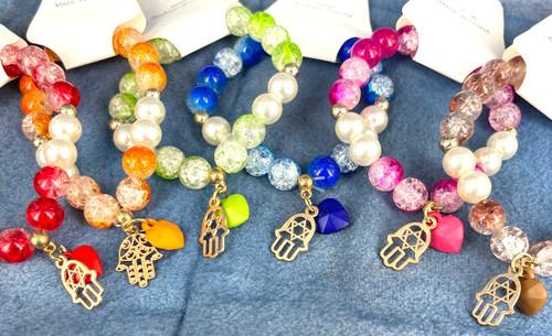 Wholesale Crackled Fashion Bracelets by the Dozen - Hamsa