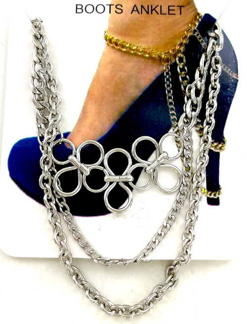 Wholesale Boot Chains / Anklets by the Dozen - Silver Circles