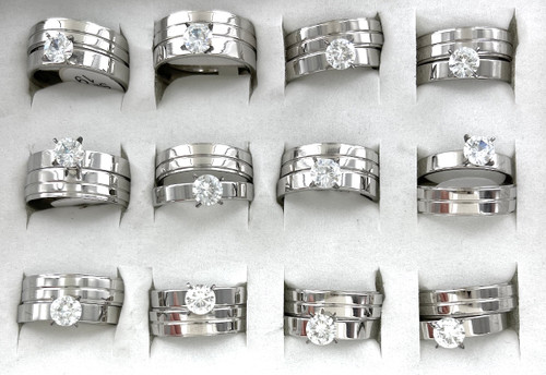 Wholesale CZ & Stainless Steel Bridal Ring Sets by the Dozen - 1 Line