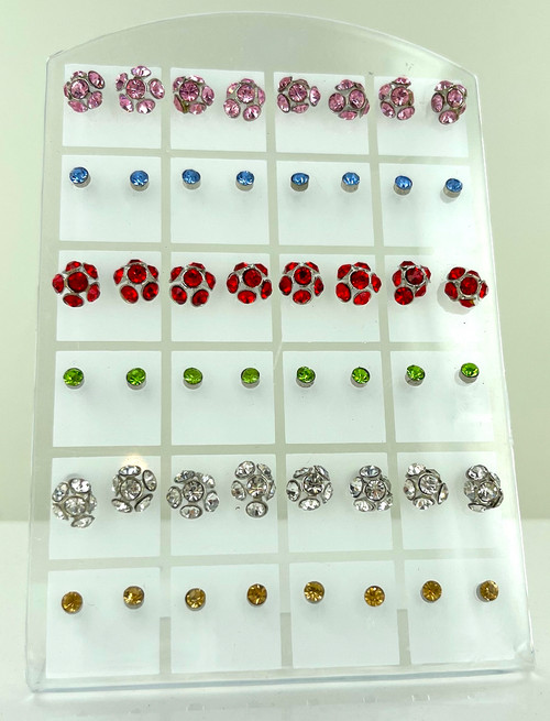 24 Stud Earrings in Stand Up Display