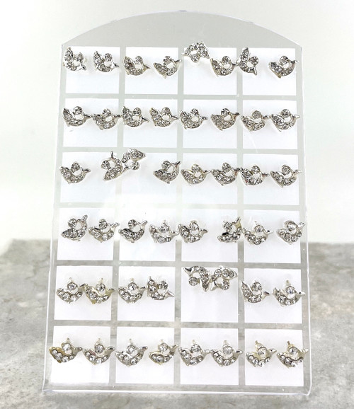 24 Dolphin Stud Earrings in Stand Up Display