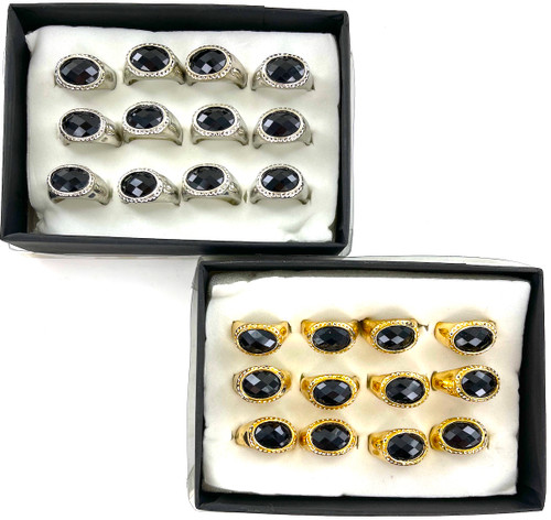 Wholesale Faceted Black Fashion Rings by the Dozen - 2 Colors to Choose From