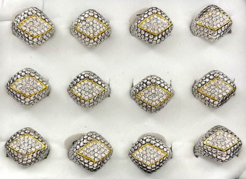 Wholesale Sized Rings by the Dozen - Crystallized Diamond Eye