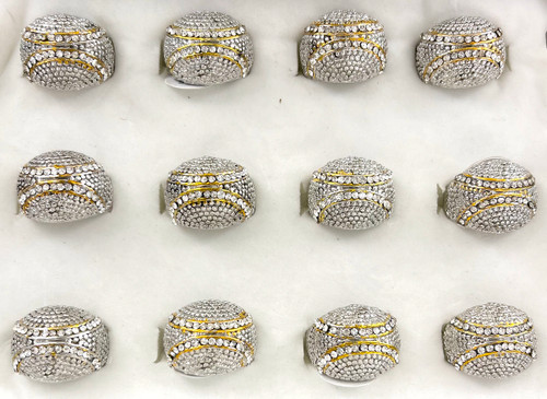 Wholesale Sized Rings by the Dozen - Crystallized Double Bow