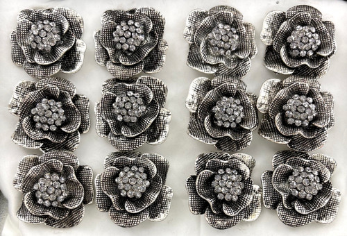 Wholesale Sized Rings by the Dozen - Hematite Crystal Flower
