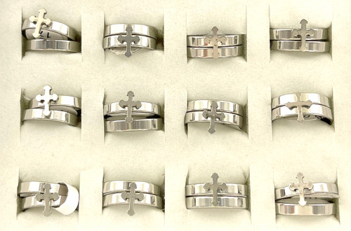 Wholesale Stainless Steel Cross Ring Sets by the Dozen - Roman Cross