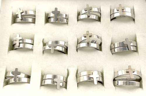 Wholesale Stainless Steel Cross Ring Sets by the Dozen - Cross