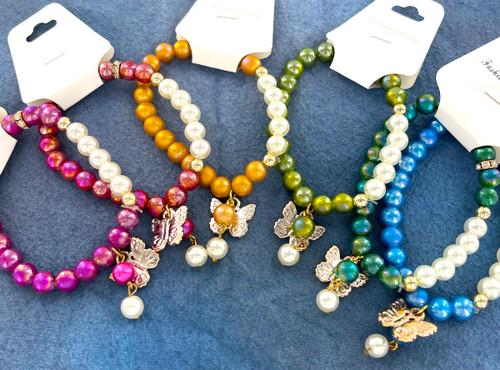 Wholesale Iridescent Fashion Bracelets by the Dozen - Butterfly