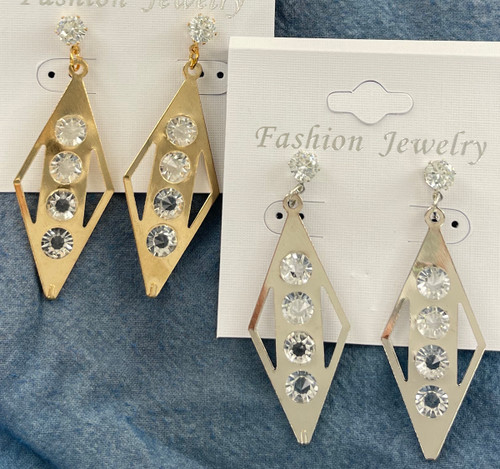 Wholesale CZ Solitaire Dangle Earrings by the Dozen - 2 Colors to Choose From