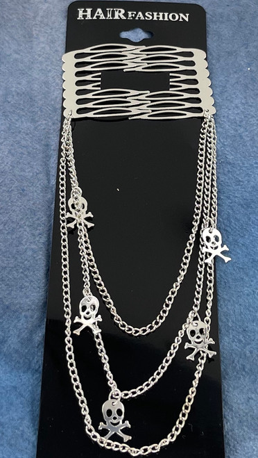 Wholesale Metal Hair Clips by the Dozen - Silver Skulls