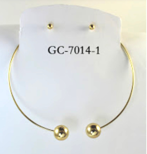 Wholesale Gold Plated Ball Choker Sets by the Dozen
