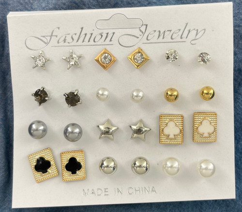Wholesale Stud Earrings by the Dozen - 12 Pairs Clubs