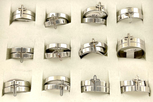 Wholesale Stainless Steel Cross Ring Sets by the Dozen - Cross Outline