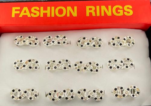 Wholesale Infinity Sparkle Rings by the Dozen - Black & White
