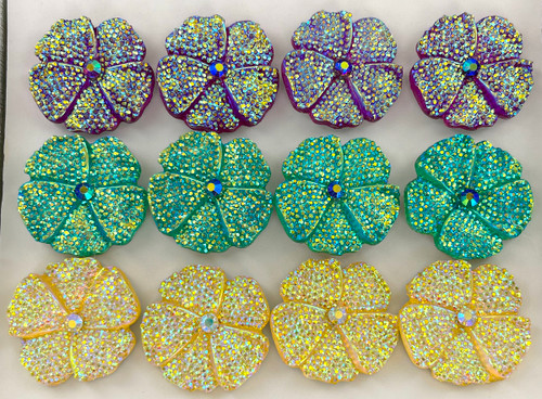 Wholesale Large Sparkle Flower Rings - 3 Colors Available