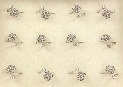 Wholesale Crystal Clover Rings by the Dozen