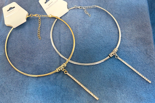 Wholesale Crystal Bar Choker Necklaces by the Dozen - 2 Colors Available