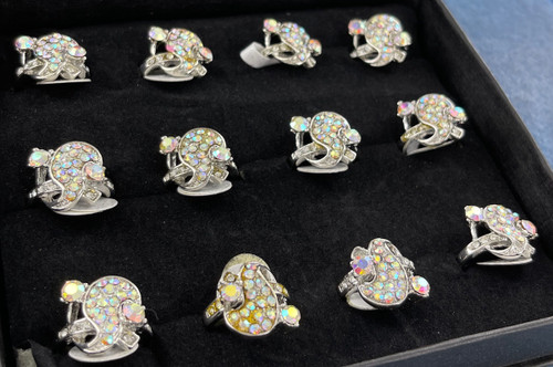 Wholesale Sized Rings by the Dozen - Crystal AB Wave