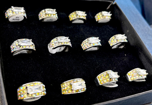 Wholesale Sized Rings by the Dozen - Crystal AB Baguette