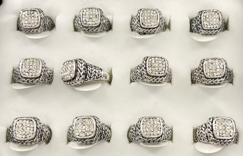 Wholesale Sized Rings by the Dozen - Pave Braid