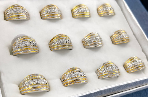 Wholesale Sized Rings by the Dozen - Two Tone Band