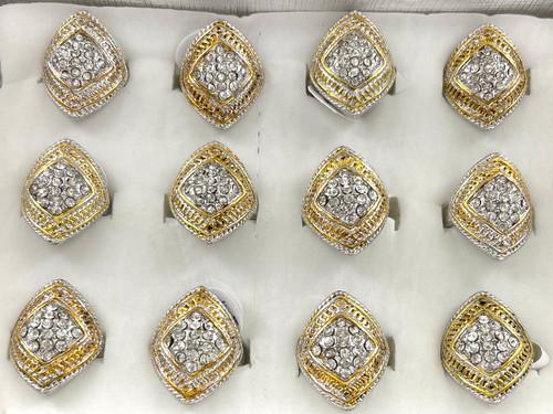 Wholesale Sized Rings by the Dozen - Two Tone Diamond Braid