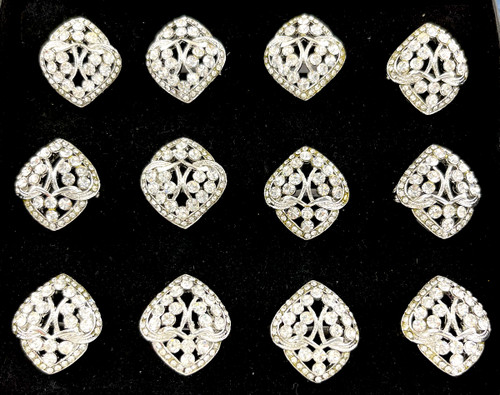 Wholesale Sized Rings by the Dozen - Crystal Intertwined Hearts