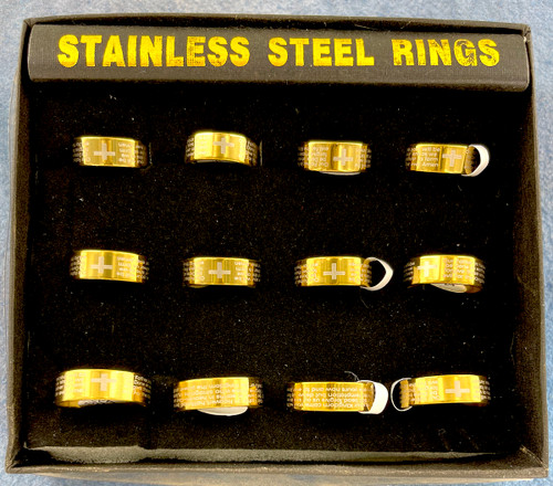 Wholesale Stainless Steel Rings by the Dozen - Lords Prayer - Gold Plated