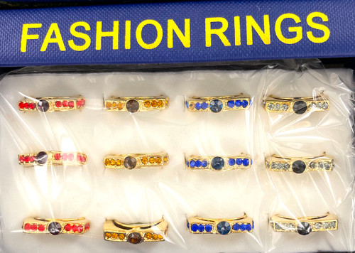Wholesale Fashion Rings by the Dozen - Golden Crystal Bar