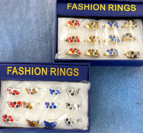 Wholesale Fashion Rings by the Dozen - Crystal Round