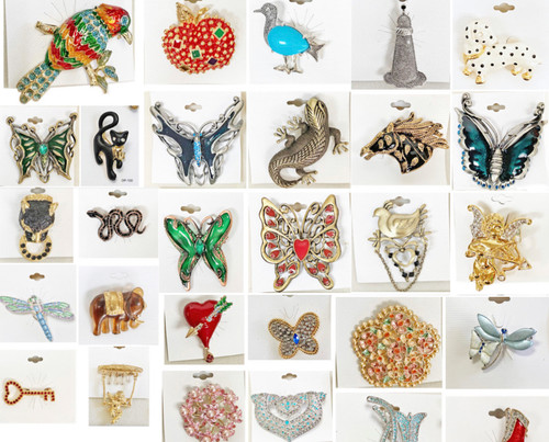 480 Pieces Wholesale Fashion Pins and Brooches Closeout