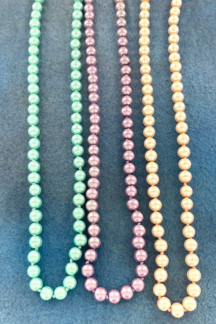 Wholesale Endless Glass Pearl Necklaces by the Dozen - Pastel - 48 Inches Long