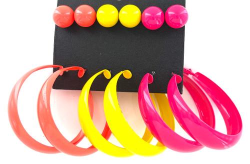 Wholesale Earrings by the Dozen - Neon Hoops & Studs