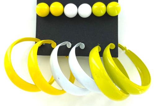 Wholesale Earrings by the Dozen - Lemon Lime Hoops & Studs