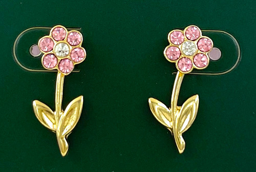 Wholesale Earrings by the Dozen - Front to Back Crystal Flowers