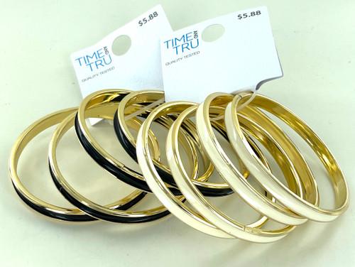 Wholesale Bangle Bracelets by the Dozen - Black and White