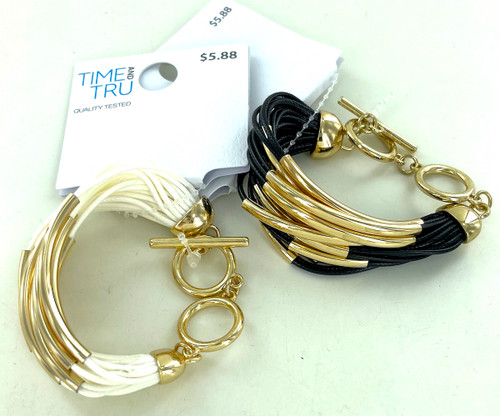 Wholesale Wax Cord Bracelets by the Dozen - Black and White