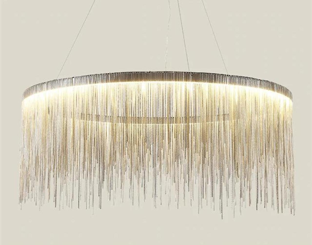 Aaliyah Deluxe Round Silver Tassel Pendant Light