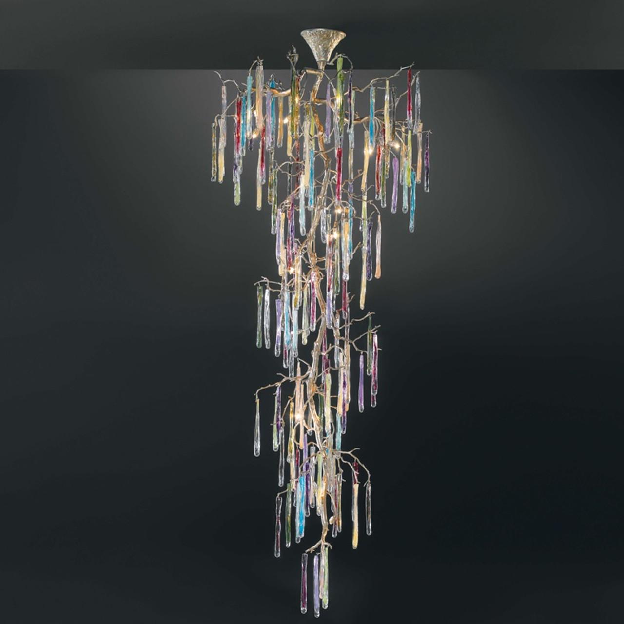 Elle Italian Artistic Colourful Crystal Branch Chandelier