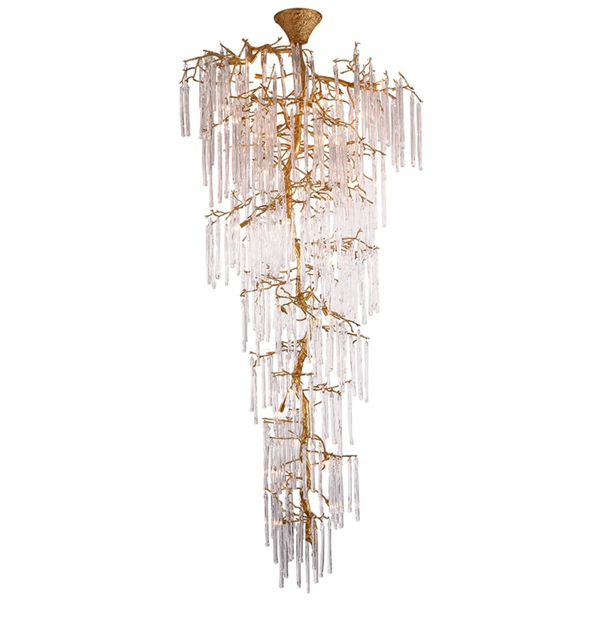 Amelie Copper Crystal Branch Staircase Luxury Hotel Chandelier
